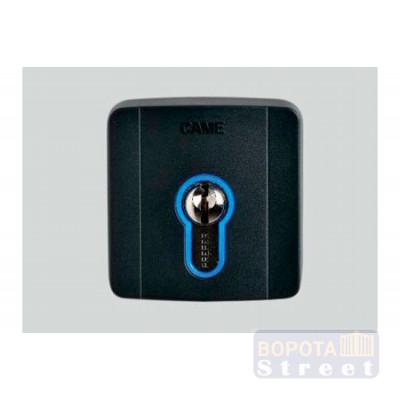 Came SELD1FDG ключ-выключатель накладной с цилиндром замка DIN и синей подсветкой (806SL-0050)